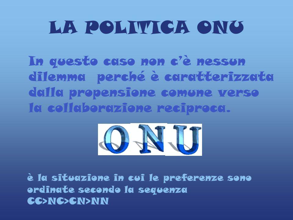 LA POLITICA ONU In questo caso non cè nessun dilemma perché è caratterizzata dalla propensione comune verso la collaborazione reciproca.