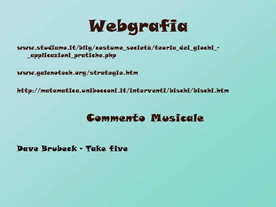 Webgrafia www.studiamo.it/blig/costume_società/teoria_dei_giochi_- _applicazioni_pratiche.php www.galenotech.org/strategie.htm http://matematica.unibocconi.it/interventi/bischi/bischi.htm Commento Musicale Dave Brubeck - Take five