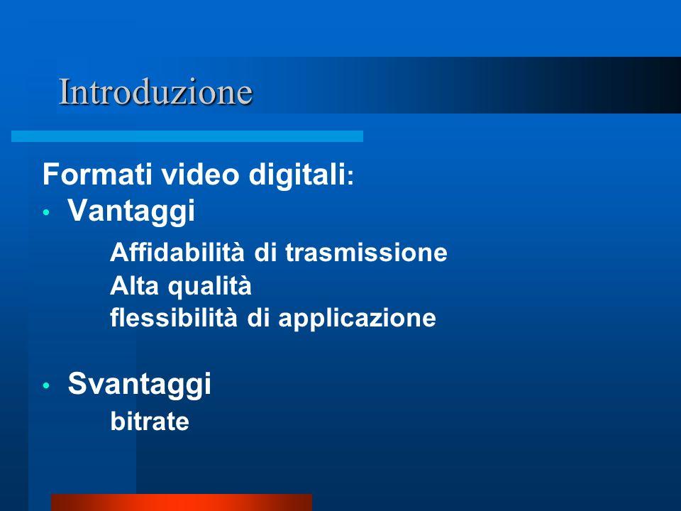 Introduzione Formati video digitali : Vantaggi Affidabilità di trasmissione Alta qualità flessibilità di applicazione Svantaggi bitrate