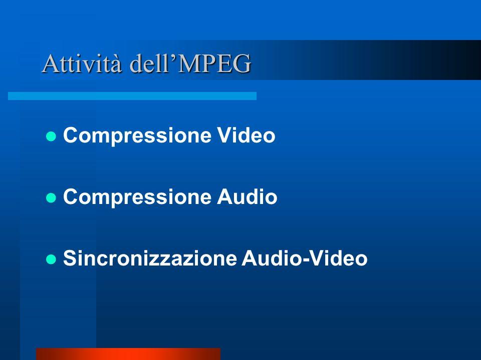 MPEG Motivo per il quale ISO (International Organization for Standardization) si è assunto il compito di sviluppare uno Standard generico per la memorizzazione di video digitali, e dellaudio a essi associato, su dispositivi come CD-ROM, dischi ottici, etc., e per la trasmissione di questi video nei vari canali di telecomunicazione; ha così creato il Moving Pictures Experts Group (MPEG)