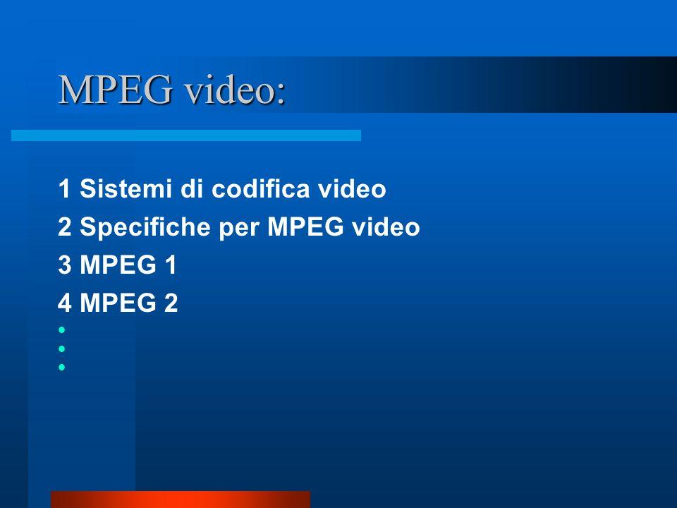 MPEG video: 1 Sistemi di codifica video 2 Specifiche per MPEG video 3 MPEG 1 4 MPEG 2