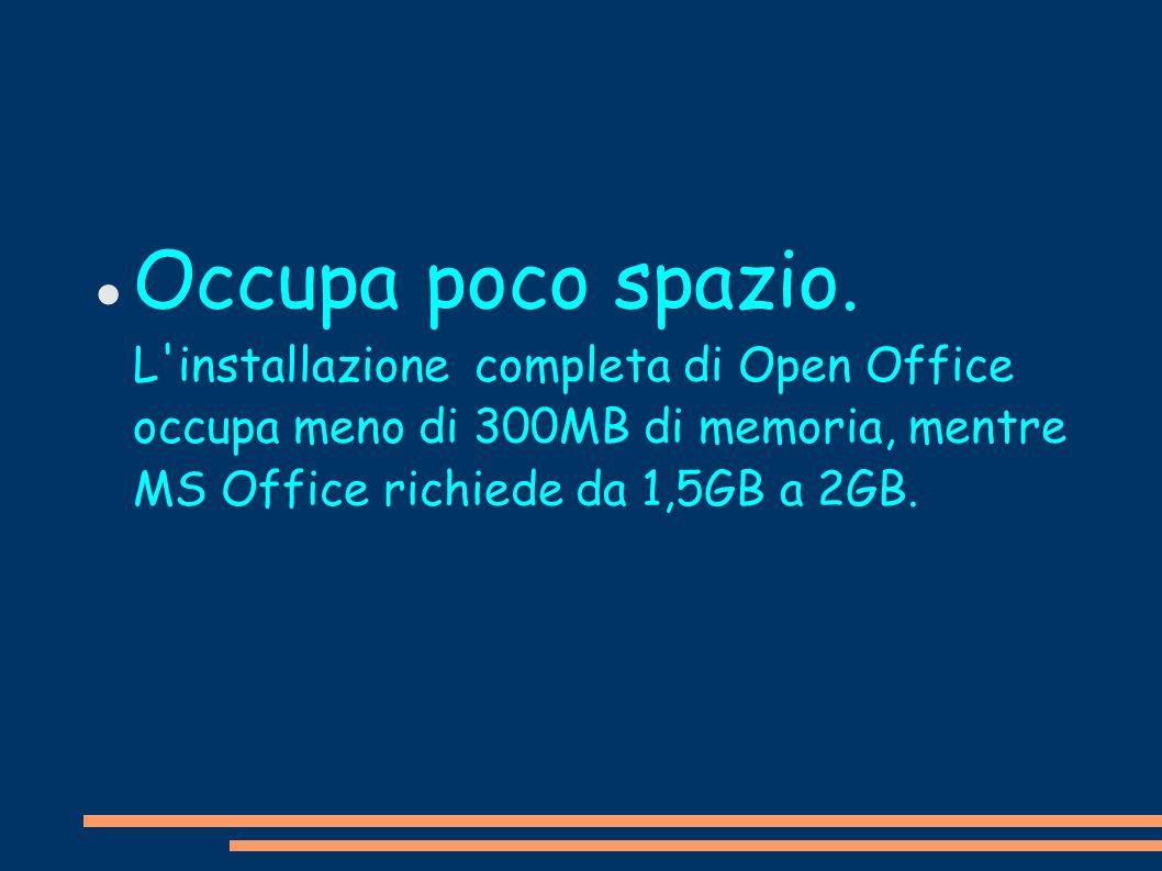 Occupa poco spazio. L'installazione completa di Open Office occupa meno di 300MB di memoria, mentre MS Office richiede da 1,5GB a 2GB.