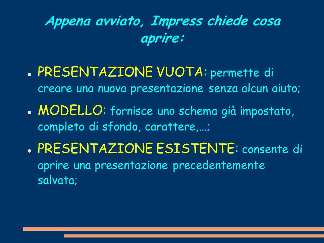 Appena avviato, Impress chiede cosa aprire: PRESENTAZIONE VUOTA: permette di creare una nuova presentazione senza alcun aiuto; MODELLO: fornisce uno s