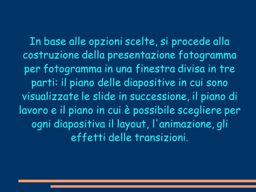In base alle opzioni scelte, si procede alla costruzione della presentazione fotogramma per fotogramma in una finestra divisa in tre parti: il piano d