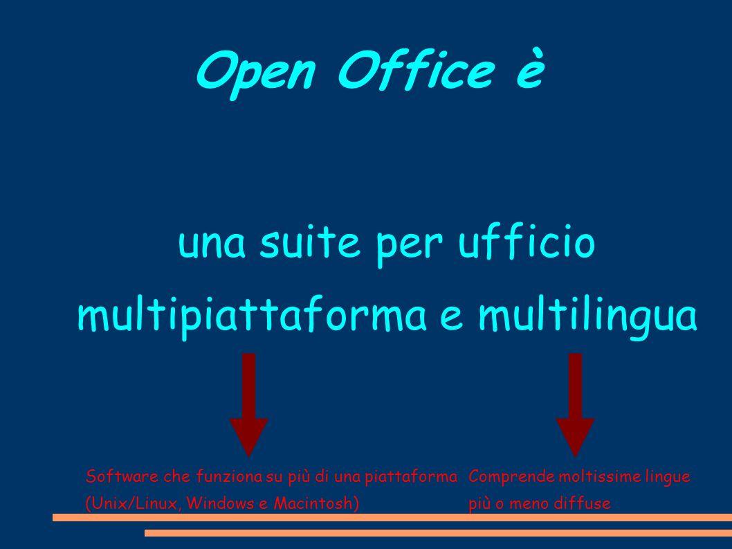 Open Office è una suite per ufficio multipiattaforma e multilingua Software che funziona su più di una piattaforma (Unix/Linux, Windows e Macintosh) C
