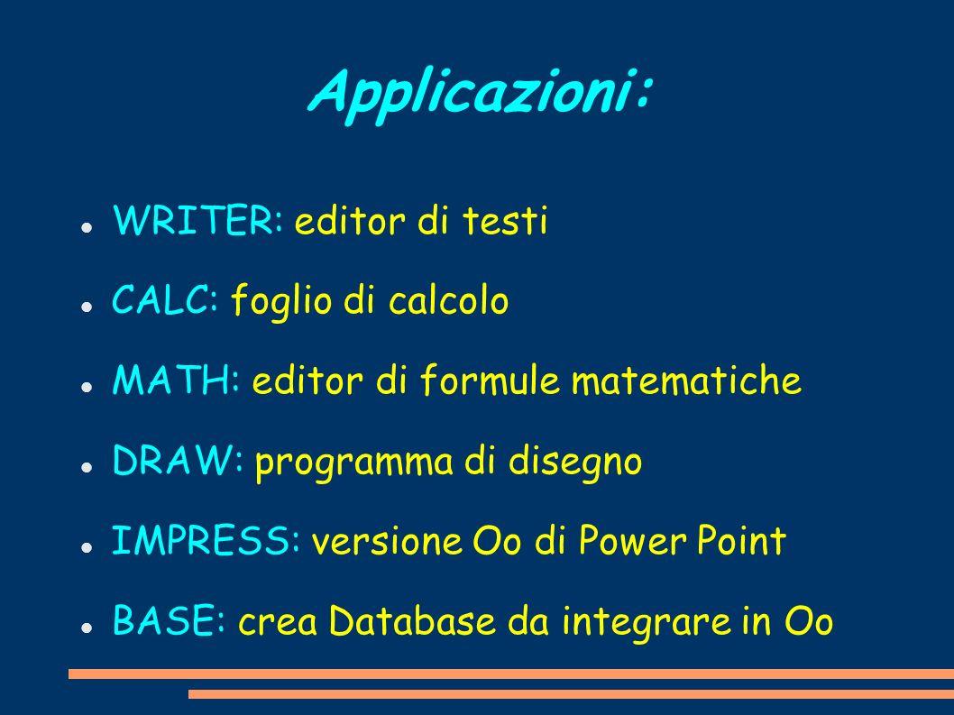 Applicazioni: WRITER: editor di testi CALC: foglio di calcolo MATH: editor di formule matematiche DRAW: programma di disegno IMPRESS: versione Oo di P