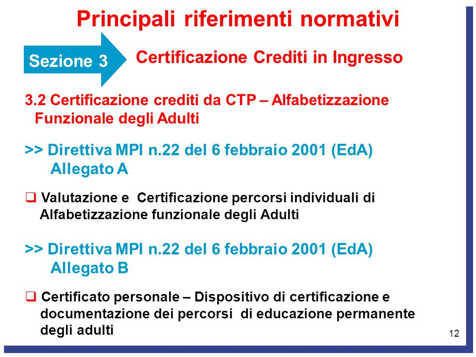 12 Sezione 3 Certificazione Crediti in Ingresso Principali riferimenti normativi 3.2 Certificazione crediti da CTP – Alfabetizzazione Funzionale degli