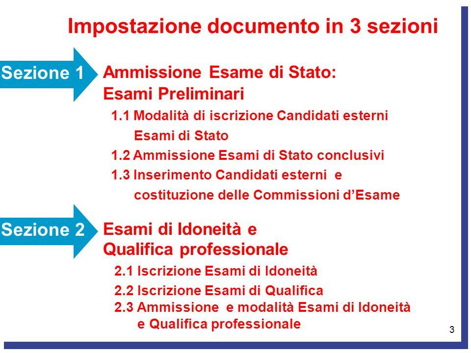 3 Impostazione documento in 3 sezioni Sezione 1 Ammissione Esame di Stato: Esami Preliminari 1.1 Modalità di iscrizione Candidati esterni Esami di Sta