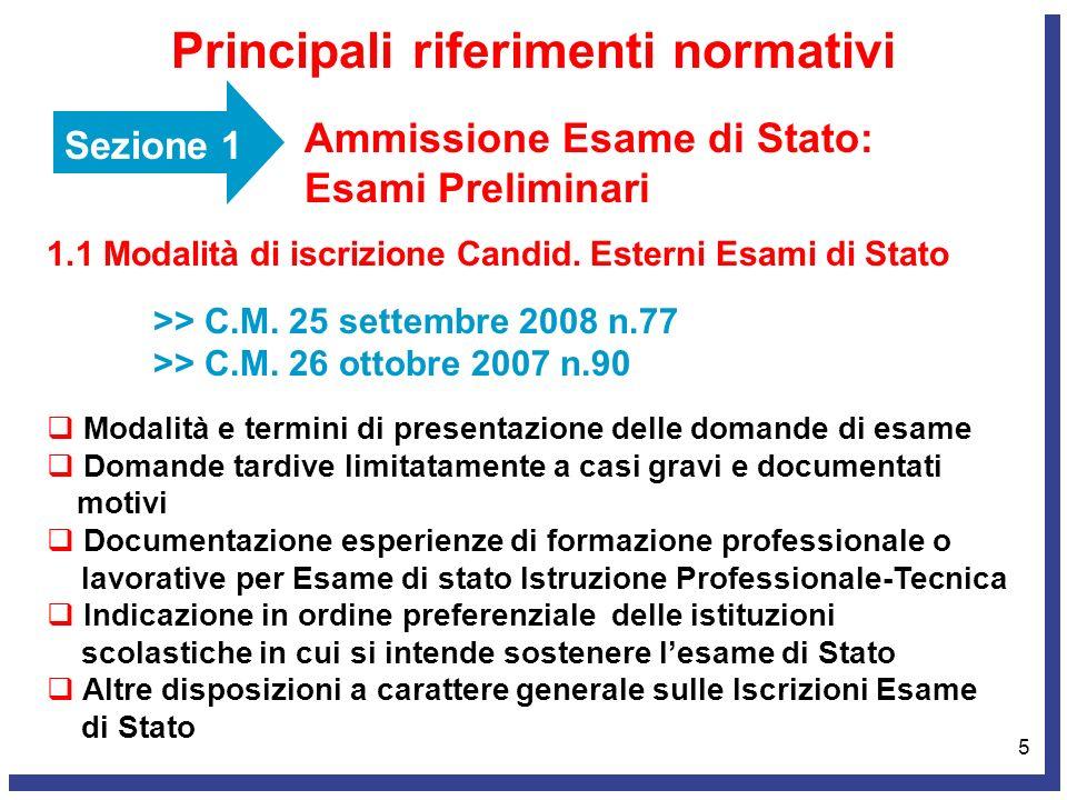 6 Sezione 1 Ammissione Esame di Stato: Esami Preliminari Principali riferimenti normativi 1.2 Ammissione Esami di Stato conclusivi >> O.M.