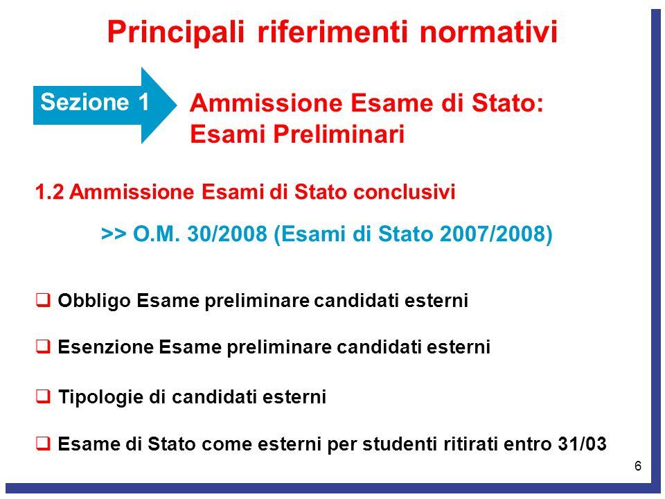 6 Sezione 1 Ammissione Esame di Stato: Esami Preliminari Principali riferimenti normativi 1.2 Ammissione Esami di Stato conclusivi >> O.M. 30/2008 (Es