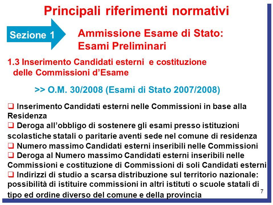 7 Sezione 1 Ammissione Esame di Stato: Esami Preliminari Principali riferimenti normativi 1.3 Inserimento Candidati esterni e costituzione delle Commi