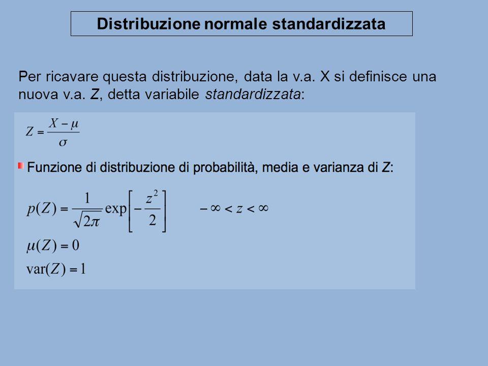 Per ricavare questa distribuzione, data la v.a. X si definisce una nuova v.a. Z, detta variabile standardizzata: Distribuzione normale standardizzata