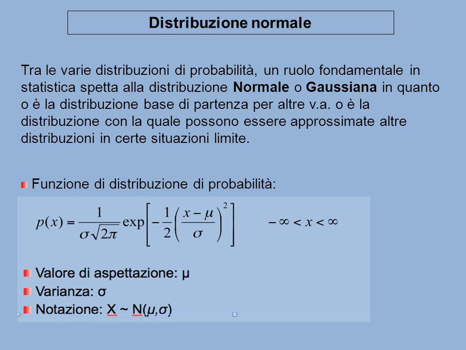 Distribuzione normale Tra le varie distribuzioni di probabilità, un ruolo fondamentale in statistica spetta alla distribuzione Normale o Gaussiana in