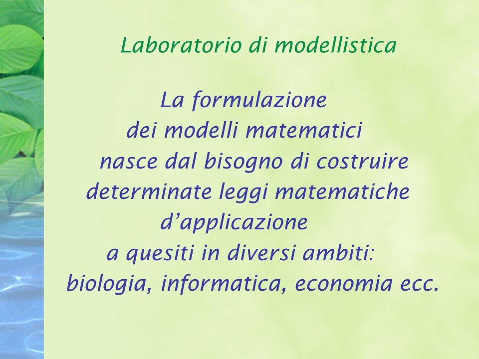 Laboratorio di modellistica La formulazione di un modello matematico si compone di varie fasi: OSSERVAZIONE DEL FENOMENO SELEZIONE DEI PUNTI RILEVANTI FORMULAZIONE DELLE EQUAZIONI ANALISI DELLE EQUAZIONI CONFRONTO CON I DATI