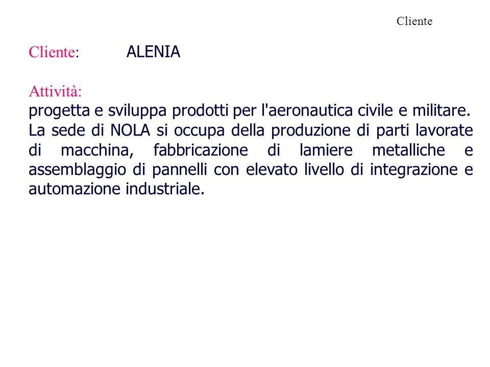 Cliente: ALENIA Attività: progetta e sviluppa prodotti per l'aeronautica civile e militare. La sede di NOLA si occupa della produzione di parti lavora
