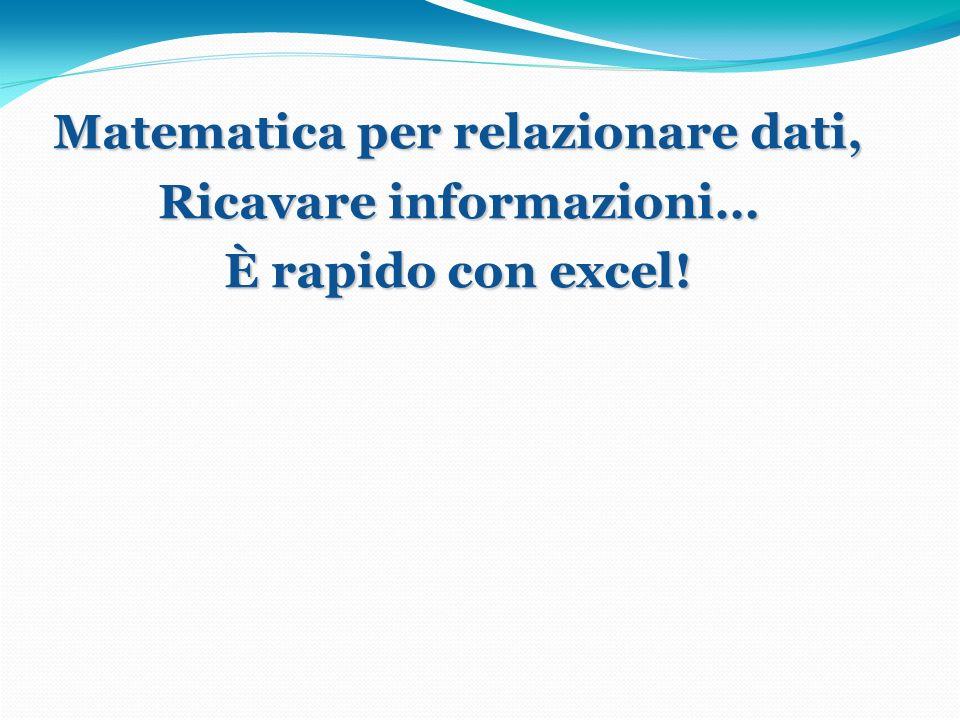 Matematica per relazionare dati, Ricavare informazioni… È rapido con excel!