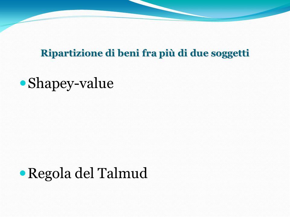 Shapey-value Consideriamo un ordinamento di giocatori; sia il caso di tre soggetti A, B, C con richieste rispettivamente pari a 100, 200, 300.