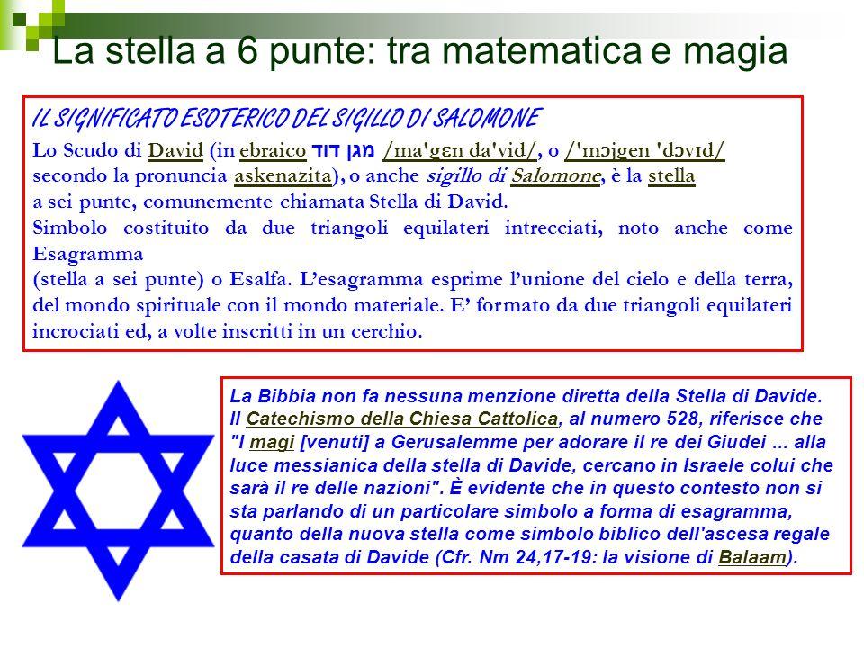 La stella a 6 punte: tra matematica e magia IL SIGNIFICATO ESOTERICO DEL SIGILLO DI SALOMONE Lo Scudo di David (in ebraico מגן דוד /ma'g ɛ n da'vid/,