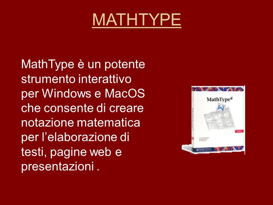 MathType è un potente strumento interattivo per Windows e MacOS che consente di creare notazione matematica per lelaborazione di testi, pagine web e p