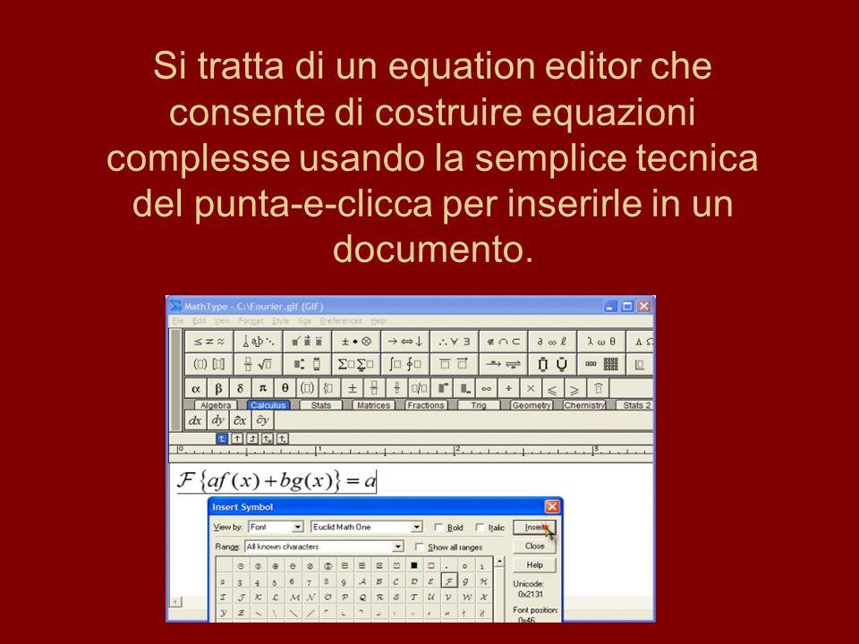 Le formule possono essere create in due modi: puntando e cliccando sul simbolo dinteresse nella barra di formattazione automatica oppure inserendo la formula da tastiera, usando la modalità di input MathType s TeX, o copiandola e incollandola da un sorgente TeX.