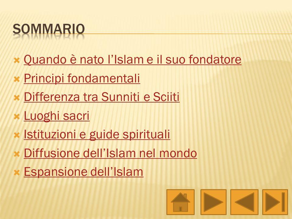 Quando è nato lIslam e il suo fondatore Principi fondamentali Differenza tra Sunniti e Sciiti Luoghi sacri Istituzioni e guide spirituali Diffusione d