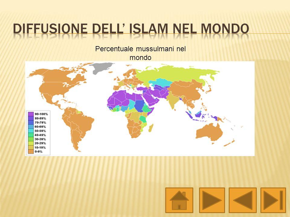 Percentuale mussulmani nel mondo