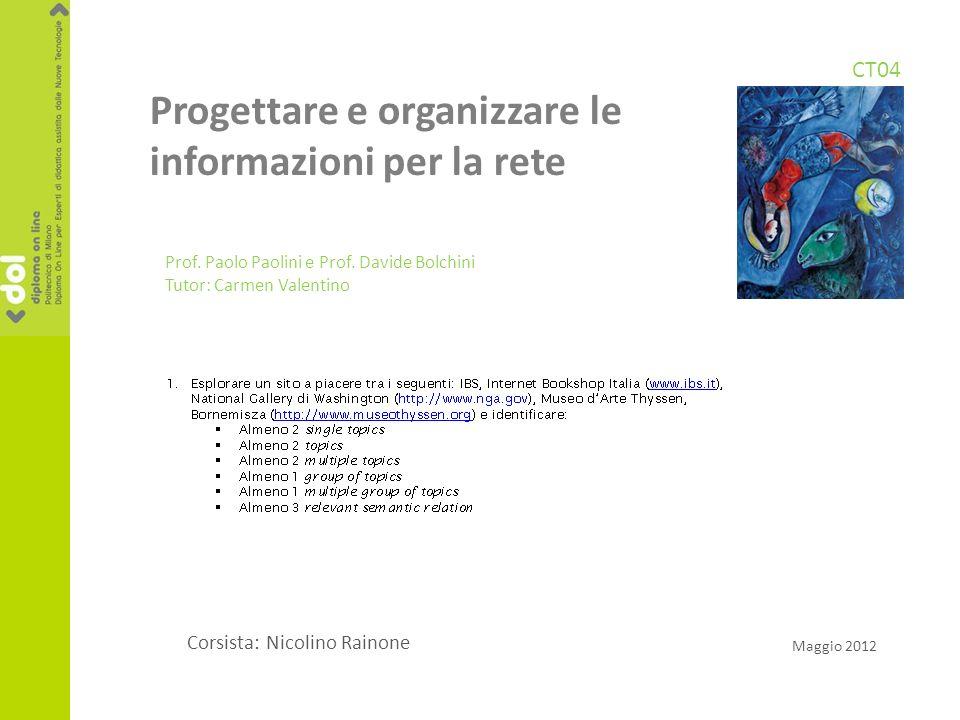Progettare e organizzare le informazioni per la rete Prof.