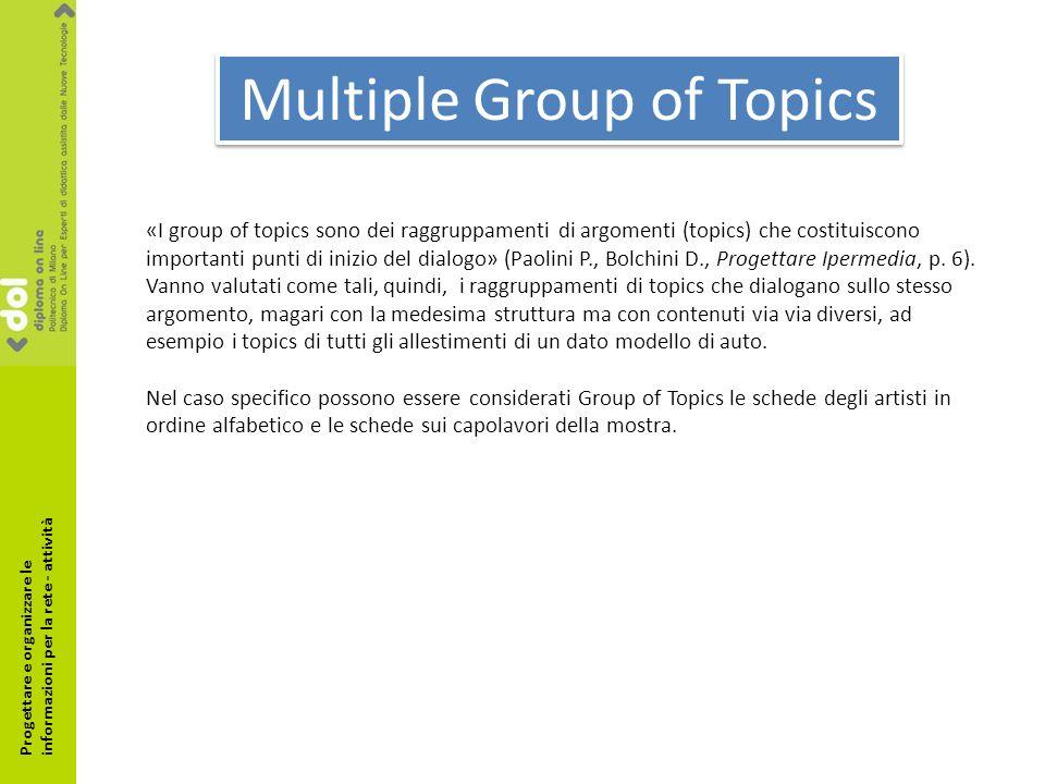 Multiple Group of Topics «I group of topics sono dei raggruppamenti di argomenti (topics) che costituiscono importanti punti di inizio del dialogo» (Paolini P., Bolchini D., Progettare Ipermedia, p.