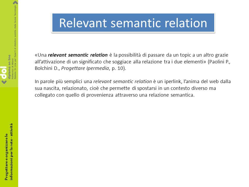 Relevant semantic relation «Una relevant semantic relation è la possibilità di passare da un topic a un altro grazie allattivazione di un significato che soggiace alla relazione tra i due elementi» (Paolini P., Bolchini D., Progettare Ipermedia, p.