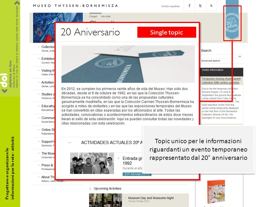 Single topic Topic unico per le informazioni riguardanti un evento temporaneo rappresentato dal 20° anniversario Progettare e organizzare le informazioni per la rete - attività