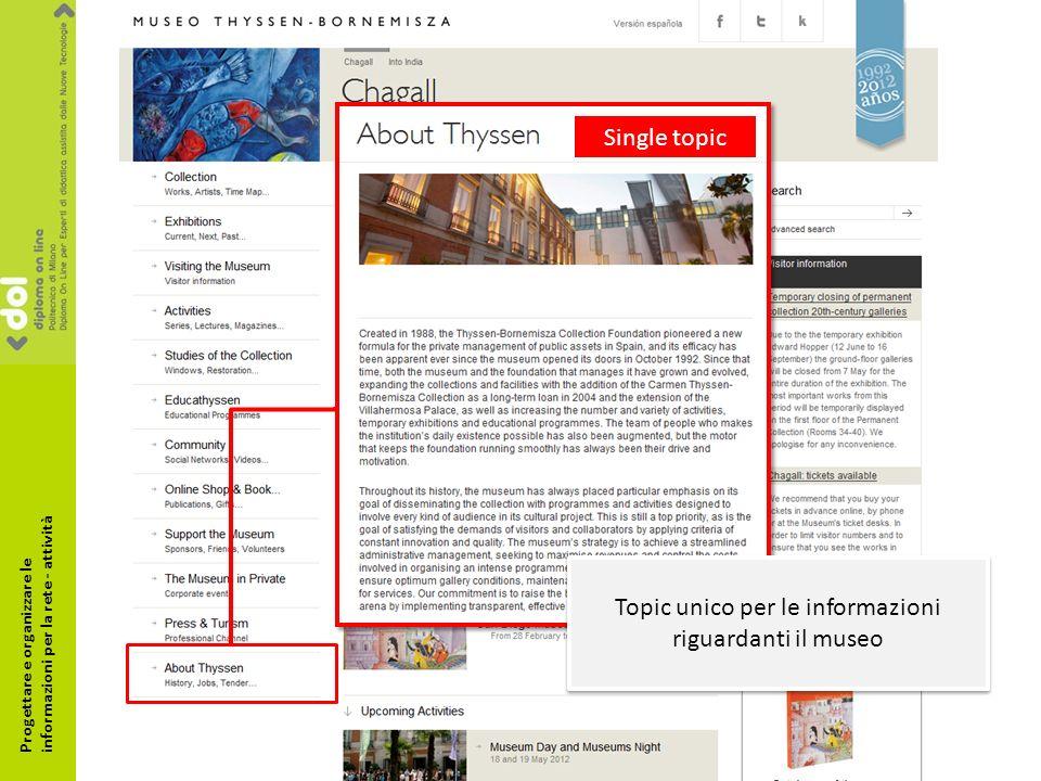 Single topic Topic unico per le informazioni riguardanti il museo Progettare e organizzare le informazioni per la rete - attività