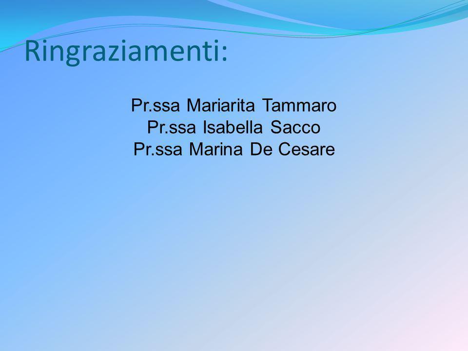 Ringraziamenti: Pr.ssa Mariarita Tammaro Pr.ssa Isabella Sacco Pr.ssa Marina De Cesare
