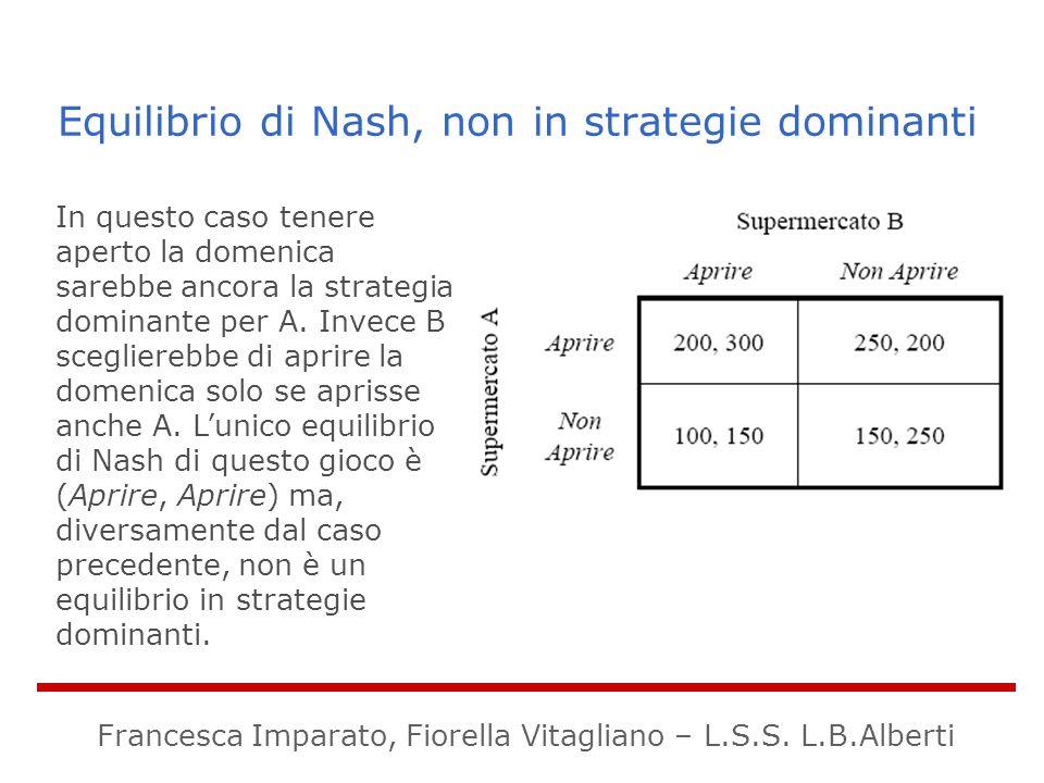 Equilibrio di Nash, non in strategie dominanti In questo caso tenere aperto la domenica sarebbe ancora la strategia dominante per A. Invece B sceglier