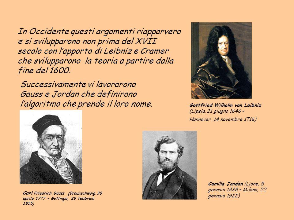 In Occidente questi argomenti riapparvero e si svilupparono non prima del XVII secolo con lapporto di Leibniz e Cramer che svilupparono la teoria a pa