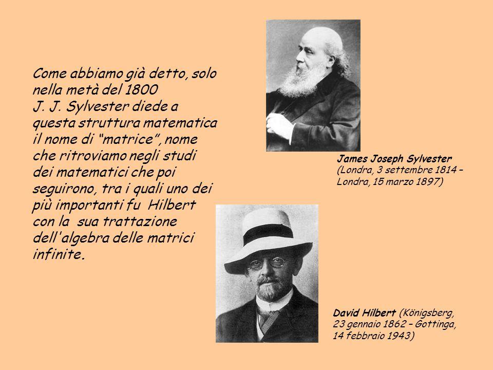 Come abbiamo già detto, solo nella metà del 1800 J. J. Sylvester diede a questa struttura matematica il nome di matrice, nome che ritroviamo negli stu