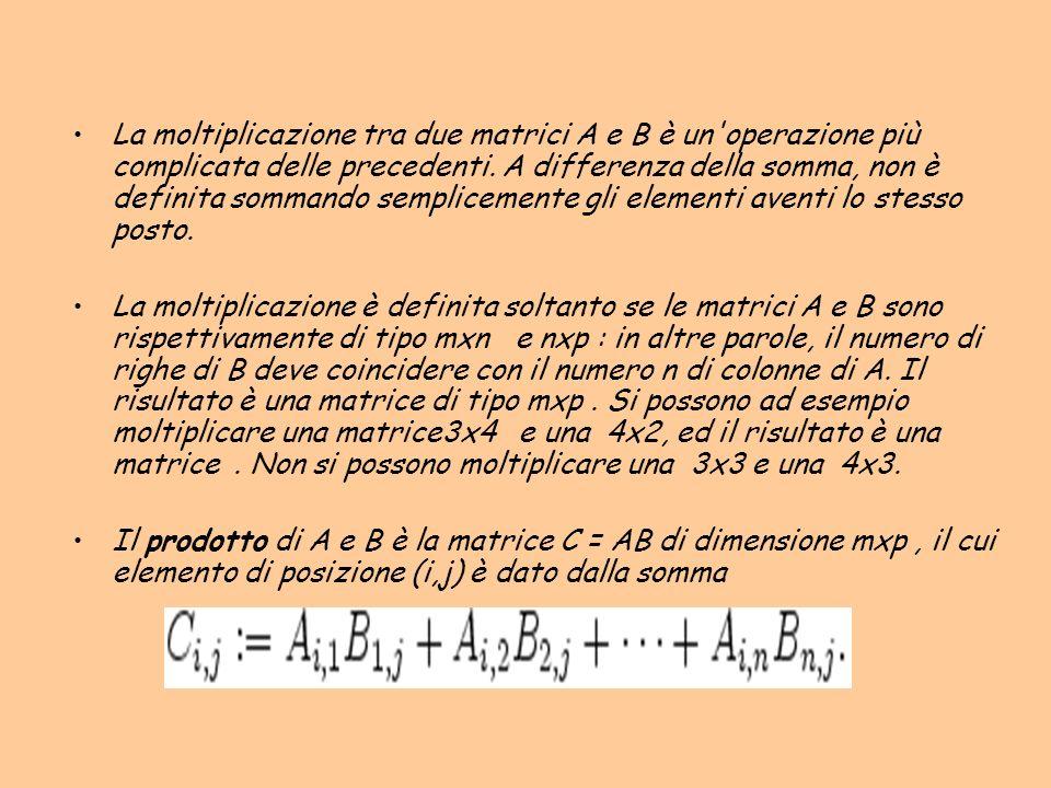 La moltiplicazione tra due matrici A e B è un'operazione più complicata delle precedenti. A differenza della somma, non è definita sommando sempliceme
