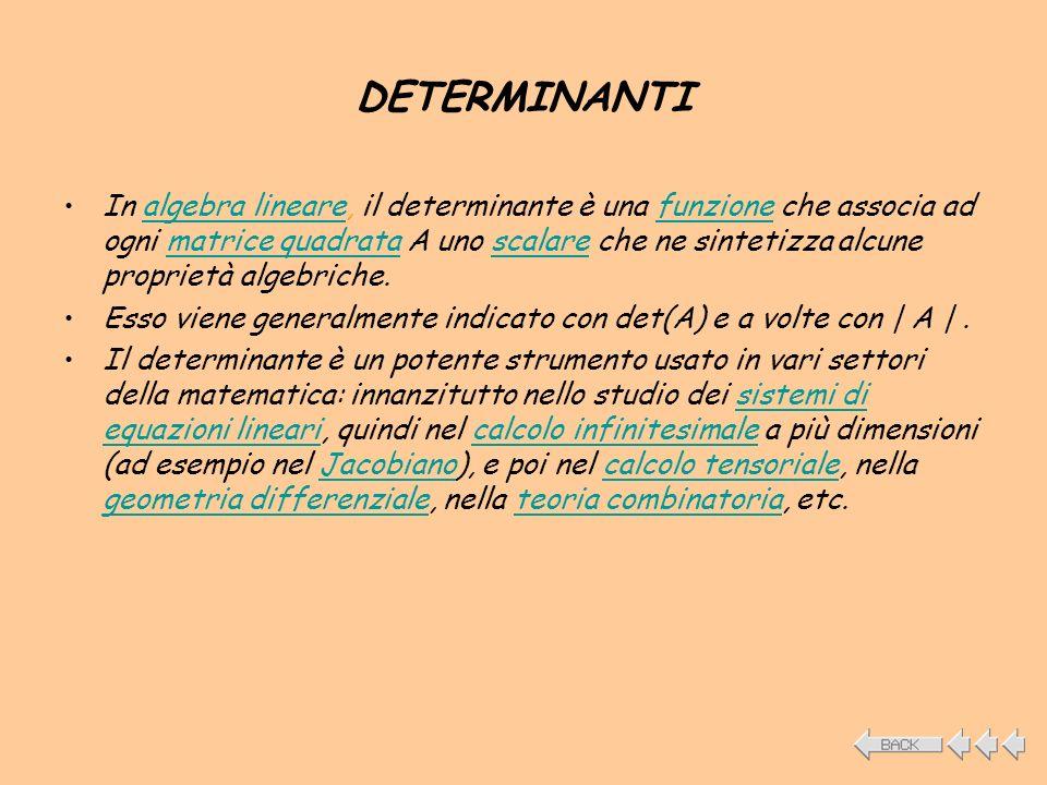 DETERMINANTI In algebra lineare, il determinante è una funzione che associa ad ogni matrice quadrata A uno scalare che ne sintetizza alcune proprietà