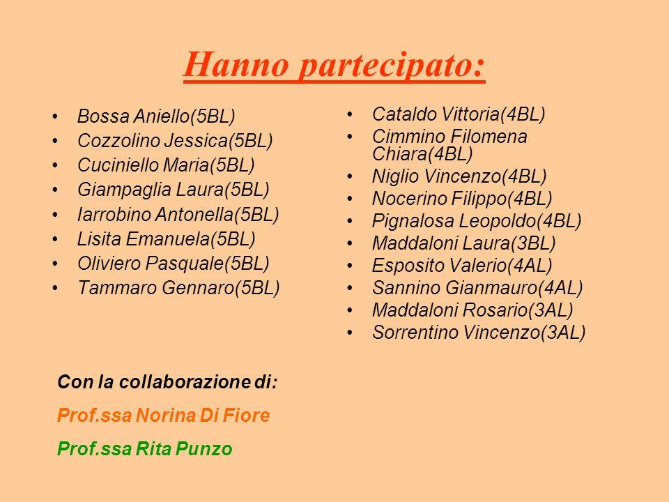 Hanno partecipato: Bossa Aniello(5BL) Cozzolino Jessica(5BL) Cuciniello Maria(5BL) Giampaglia Laura(5BL) Iarrobino Antonella(5BL) Lisita Emanuela(5BL)