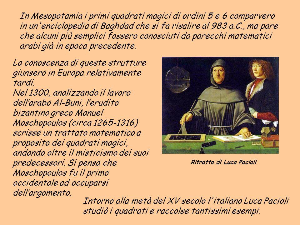 Intorno alla metà del XV secolo l'italiano Luca Pacioli studiò i quadrati e raccolse tantissimi esempi. La conoscenza di queste strutture giunsero in