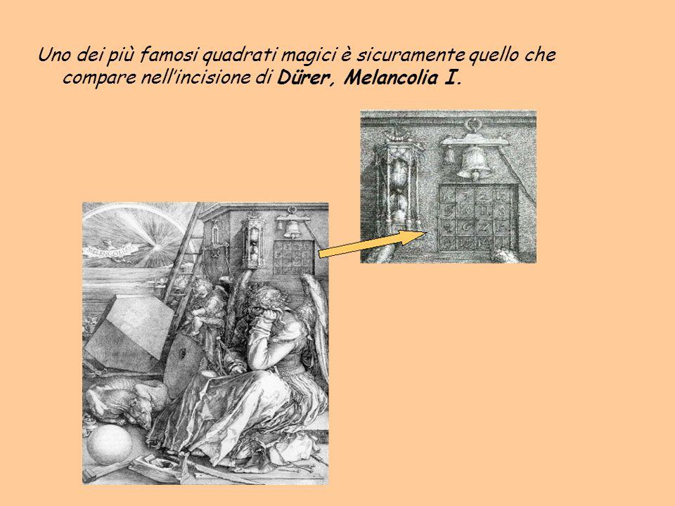 Uno dei più famosi quadrati magici è sicuramente quello che compare nellincisione di Dürer, Melancolia I.