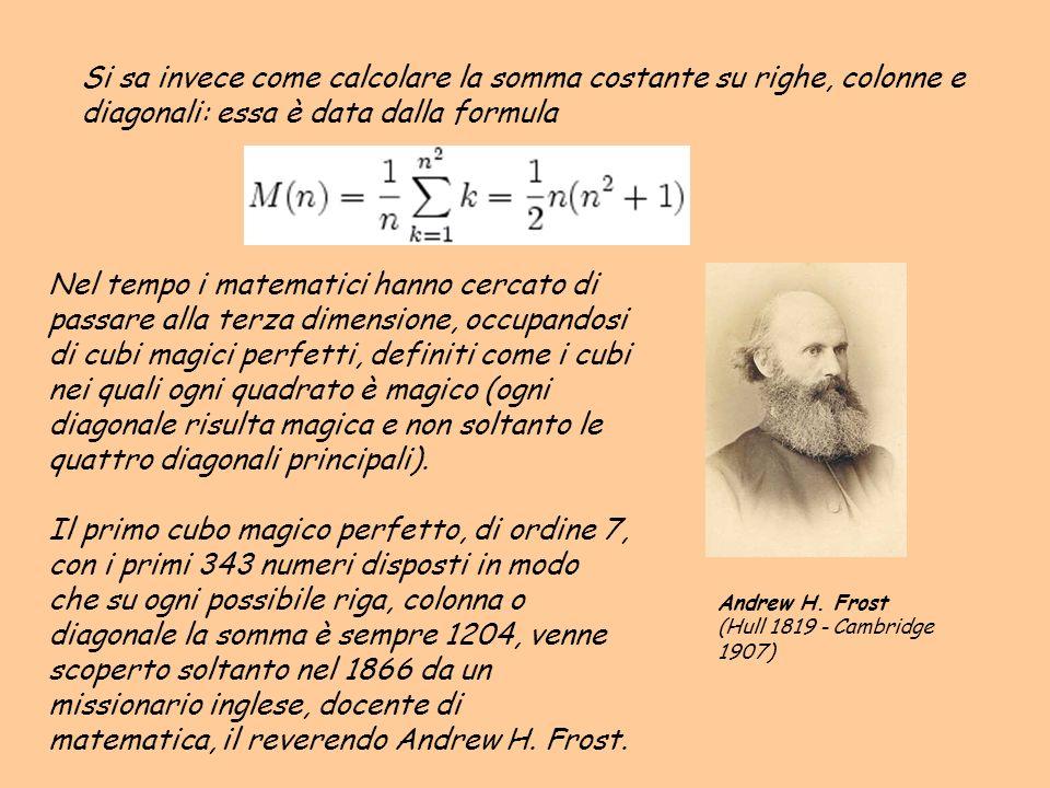 Si sa invece come calcolare la somma costante su righe, colonne e diagonali: essa è data dalla formula Nel tempo i matematici hanno cercato di passare
