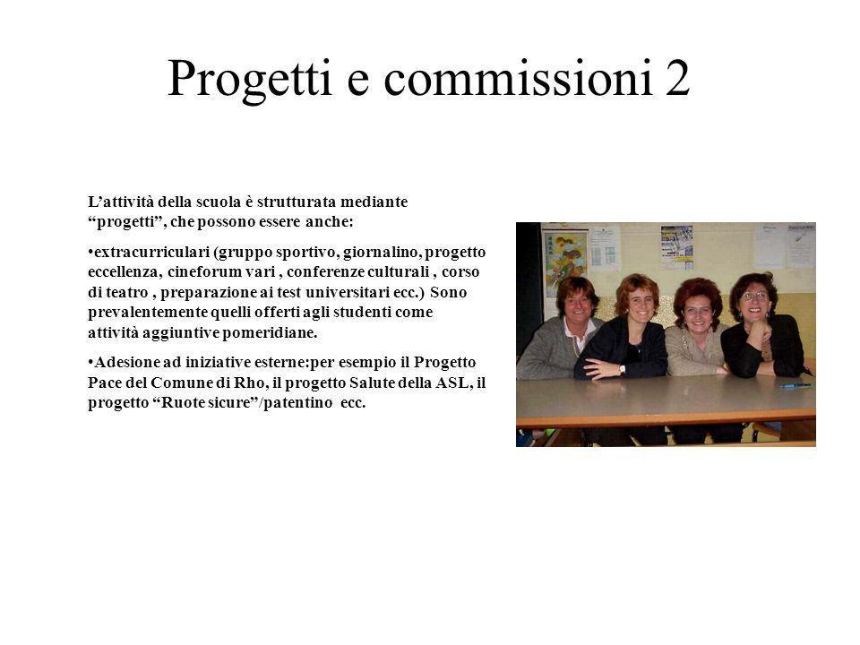 Progetti e commissioni 2 Lattività della scuola è strutturata mediante progetti, che possono essere anche: extracurriculari (gruppo sportivo, giornali