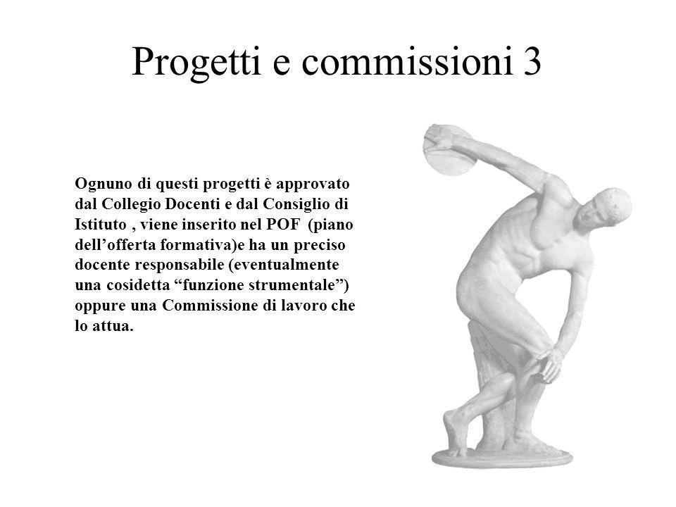 Progetti e commissioni 3 Ognuno di questi progetti è approvato dal Collegio Docenti e dal Consiglio di Istituto, viene inserito nel POF (piano delloff