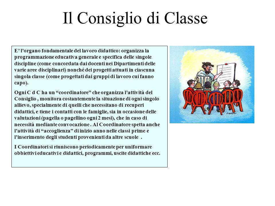 Il Consiglio di Classe E lorgano fondamentale del lavoro didattico: organizza la programmazione educativa generale e specifica delle singole disciplin