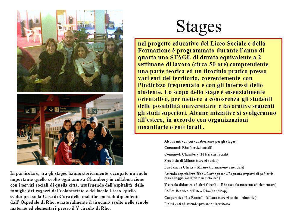 Stages nel progetto educativo del Liceo Sociale e della Formazione è programmato durante lanno di quarta uno STAGE di durata equivalente a 2 settimane