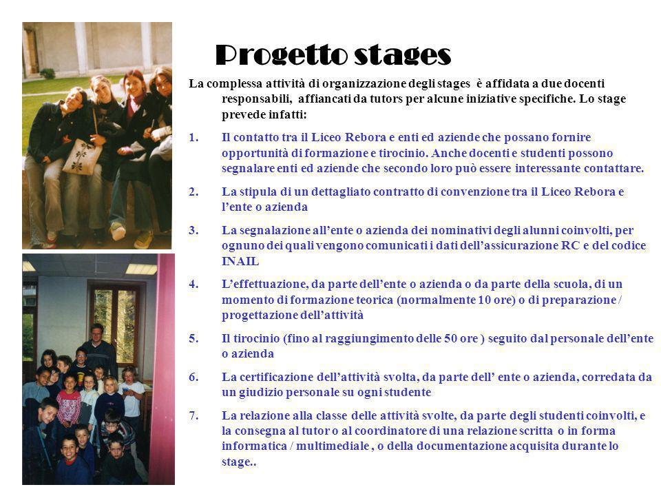 Progetto stages La complessa attività di organizzazione degli stages è affidata a due docenti responsabili, affiancati da tutors per alcune iniziative