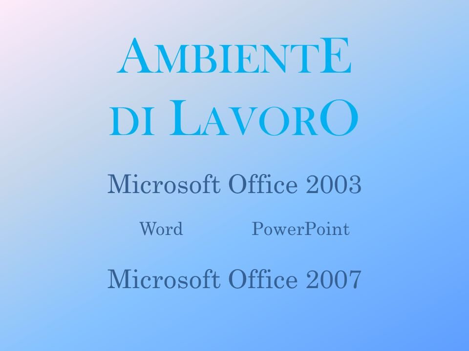 A MBIENT E DI L AVOR O Microsoft Office 2003 Microsoft Office 2007 WordPowerPoint