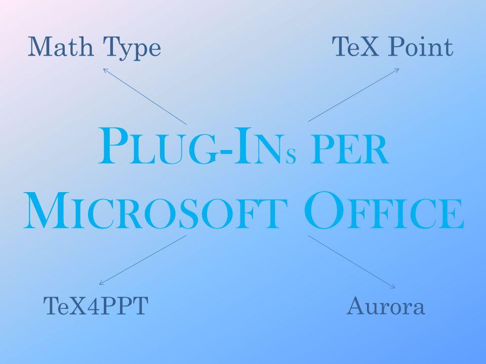 P LUG -I N S PER M ICROSOFT O FFICE Aurora Math TypeTeX Point TeX4PPT