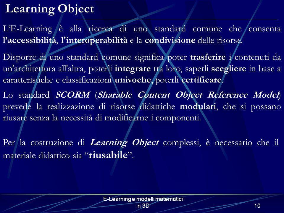 E-Learning e modelli matematici in 3D10 Per la costruzione di Learning Object complessi, è necessario che il materiale didattico sia riusabile. Learni