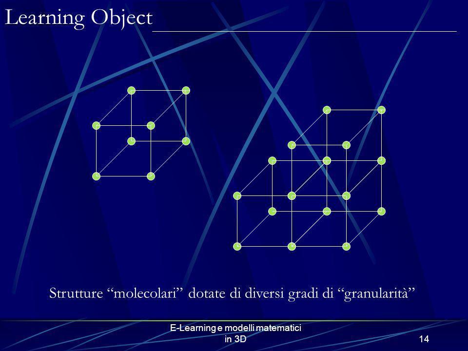 E-Learning e modelli matematici in 3D14 Strutture molecolari dotate di diversi gradi di granularità Learning Object